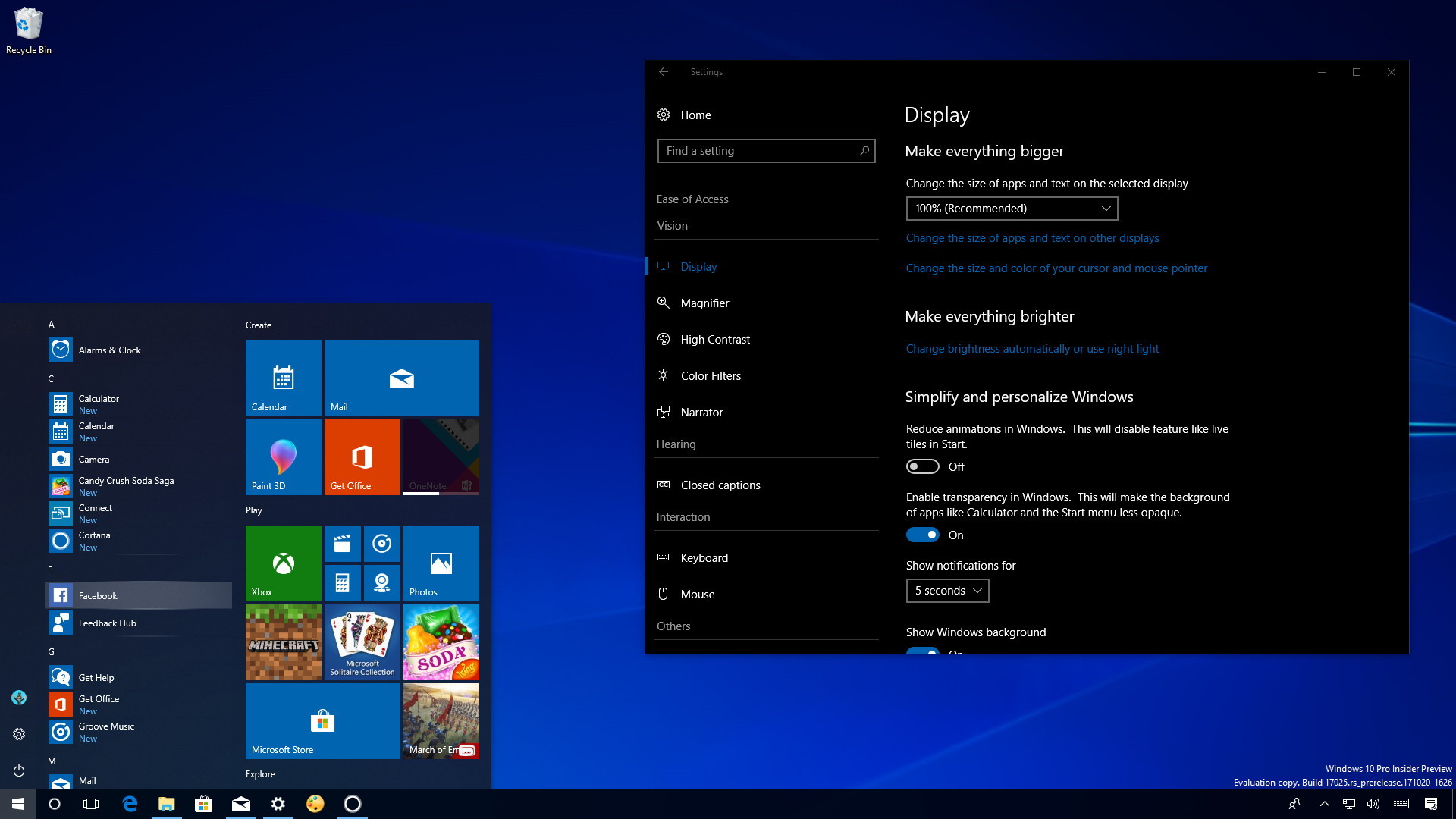 windows 10 features list