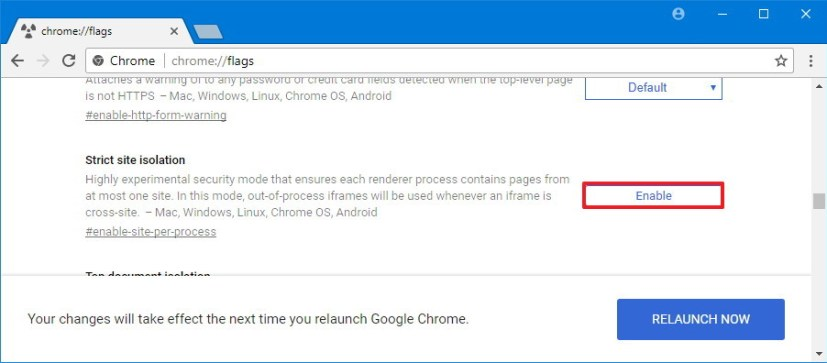 Chrome's Flags Strict Site Isolation option