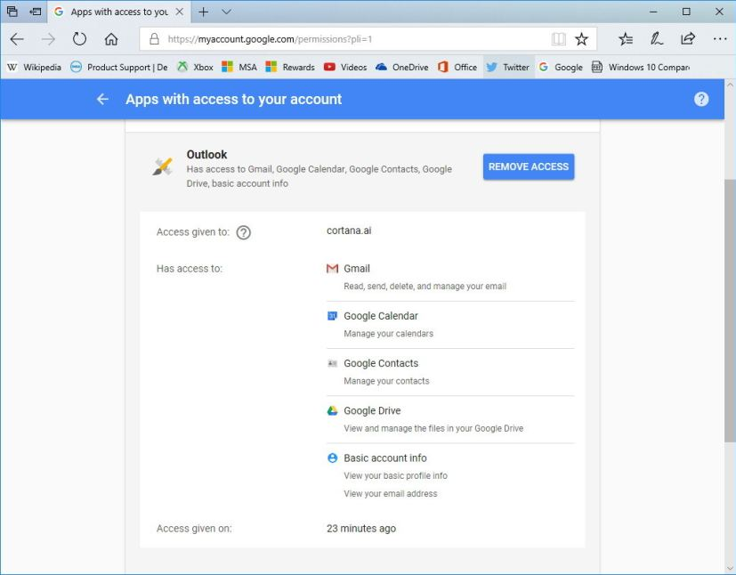 Google permissions page