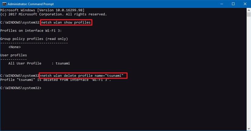 Netsh delete Wi-Fi network profile on Windows 10