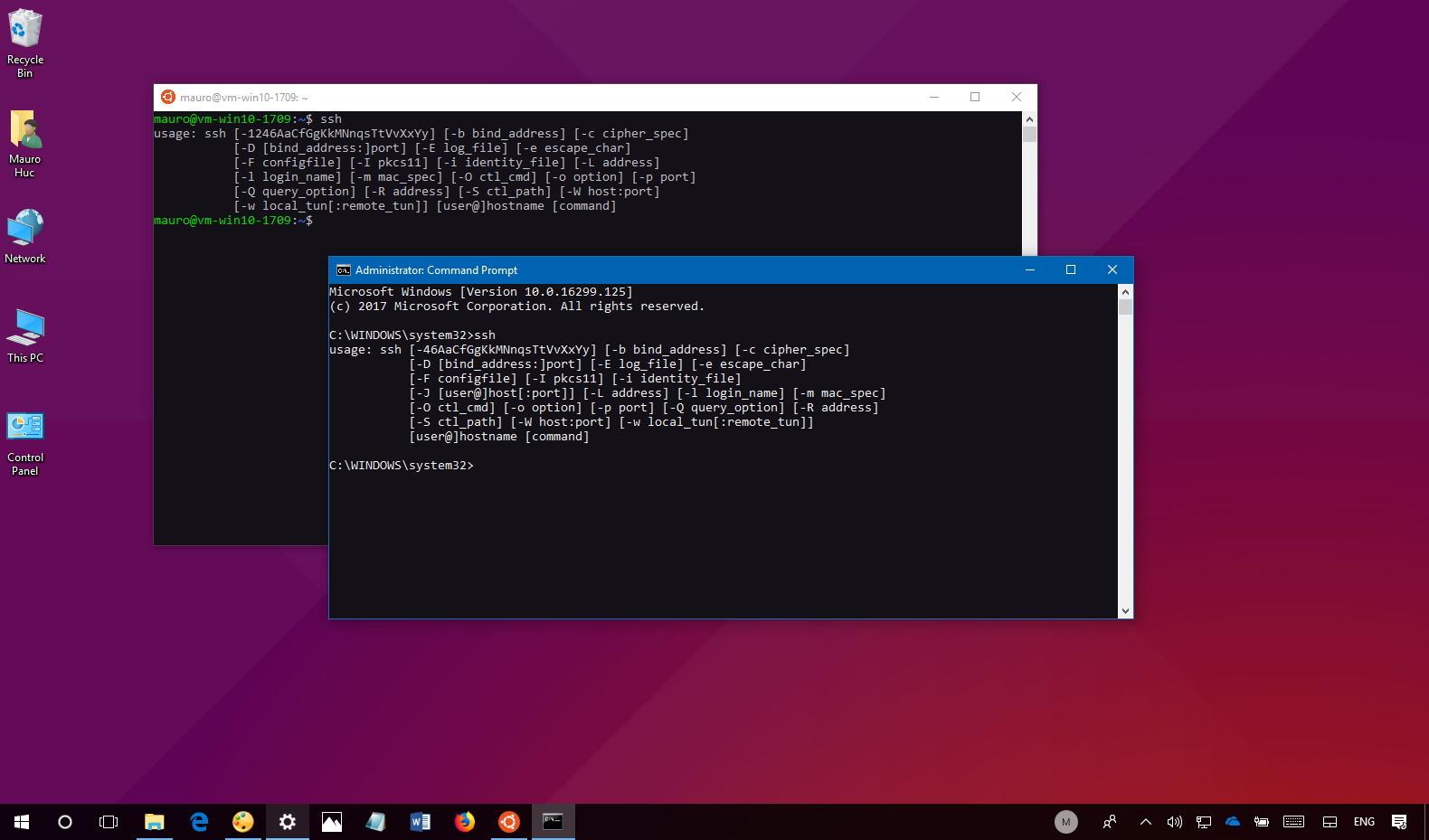 OpenSSH on Windows 10