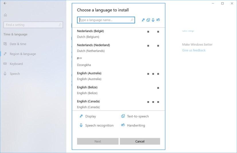 Region & Language settings