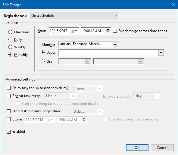 Task Scheduler Trigger settings