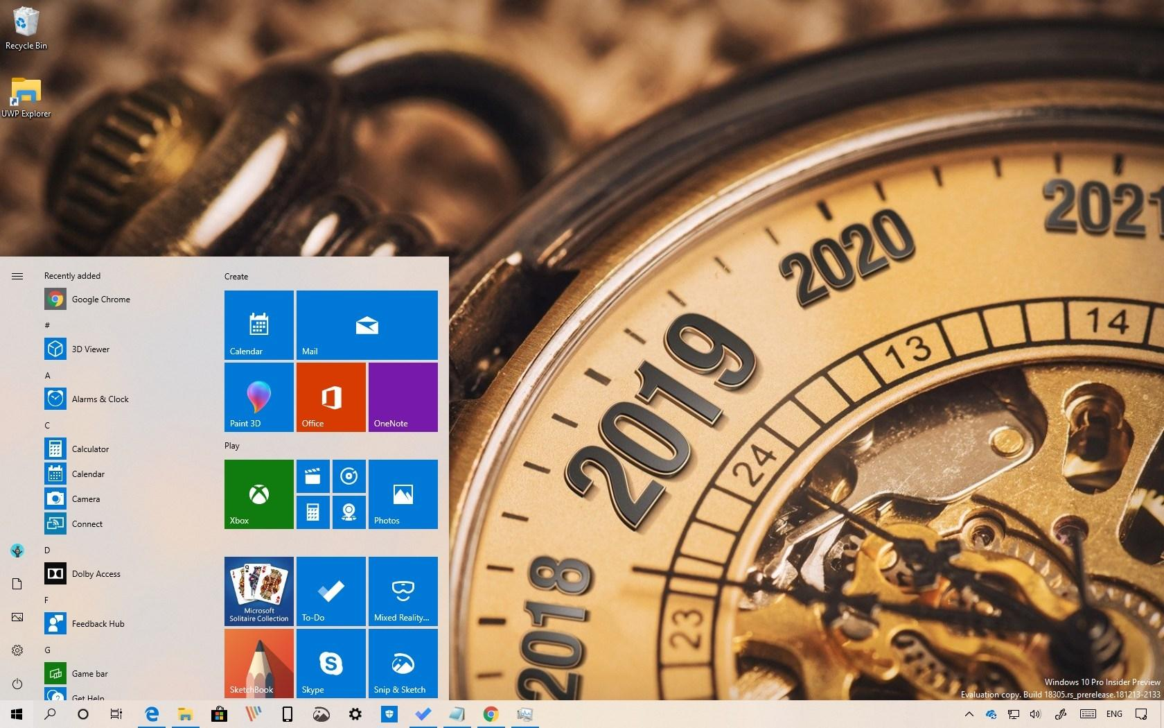 Windows 10 2019 desktop