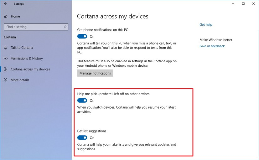 Cortana across devices settings for Windows 10 version 1803
