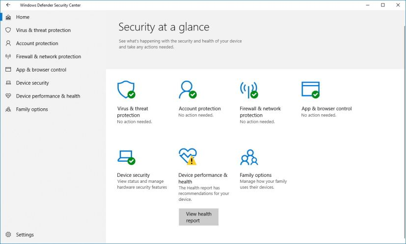 Home page for Windows Defender Security Center