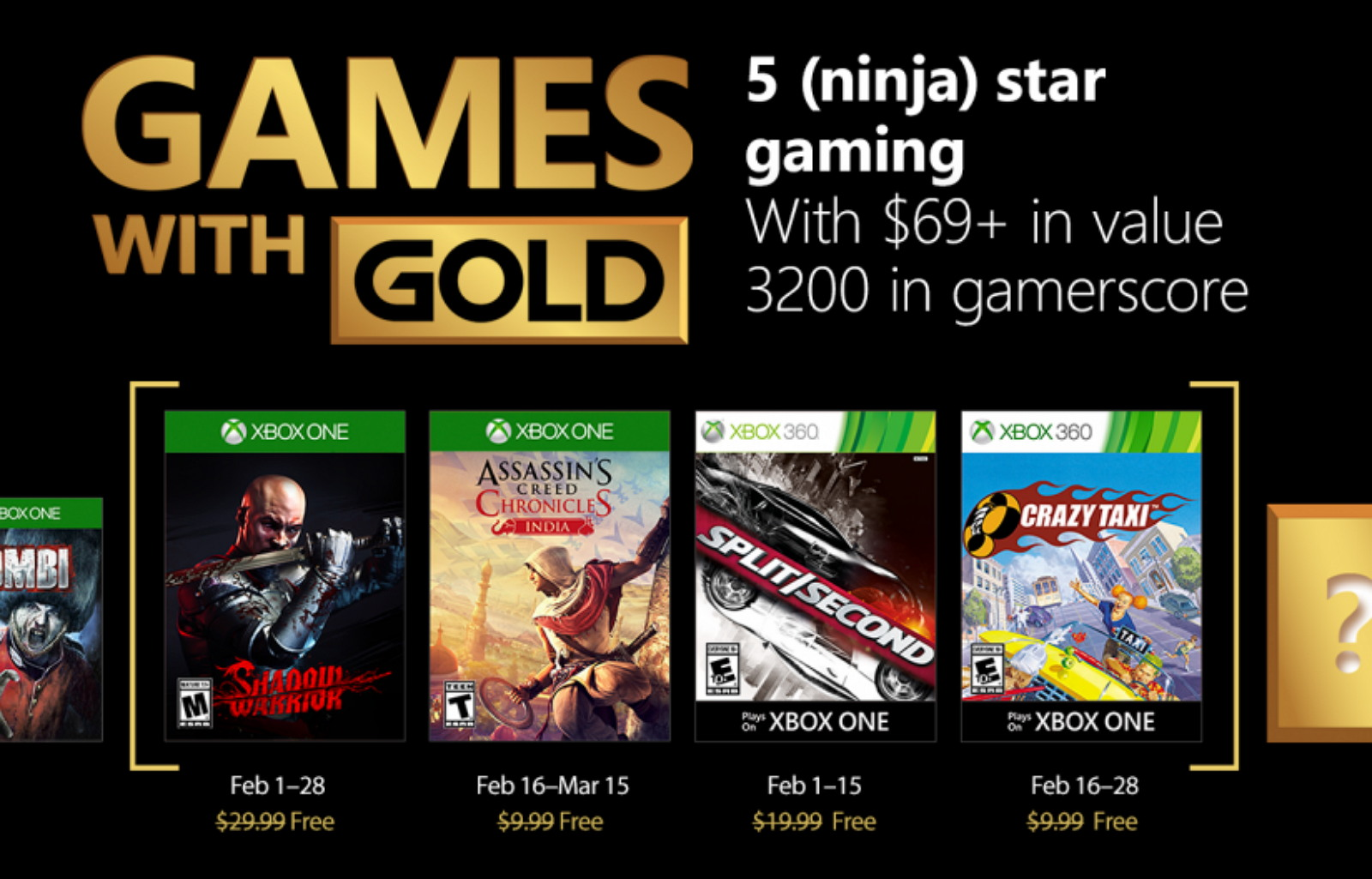 Xbox Live free games for February 2018
