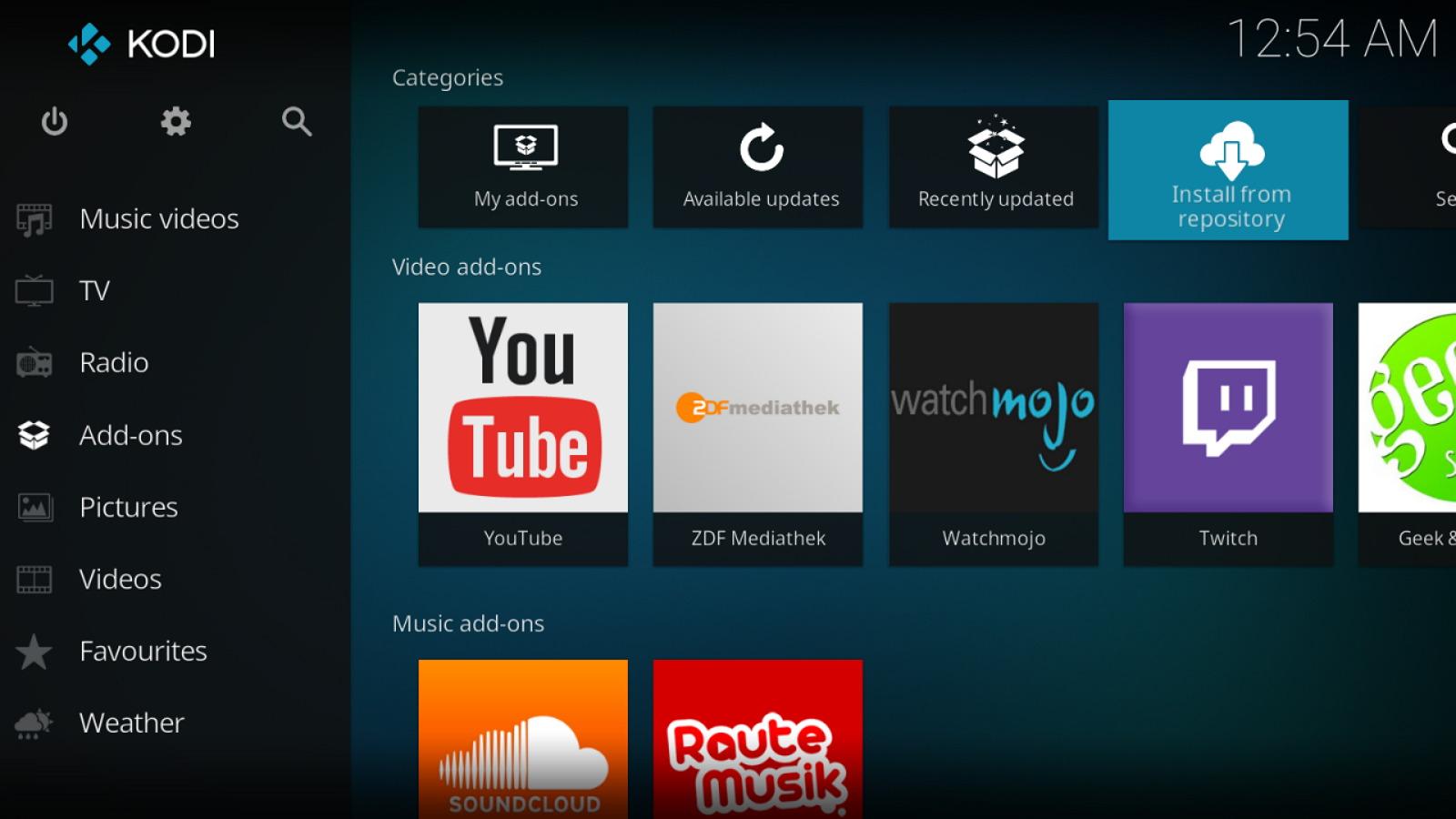 Kodi interface on Xbox One