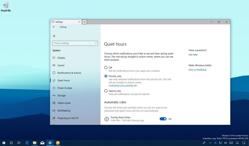 Quiet Hours with priority on Windows 10