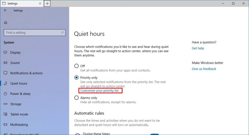 Quiet Hours settings