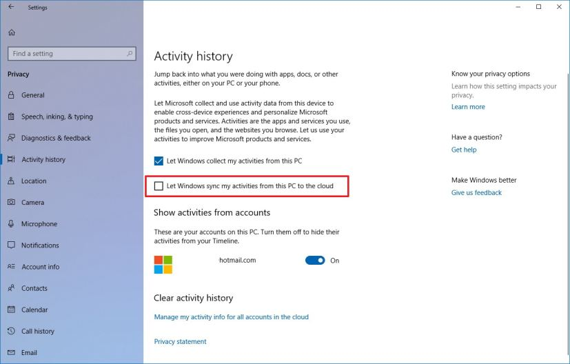 Activity history with Timeline settings