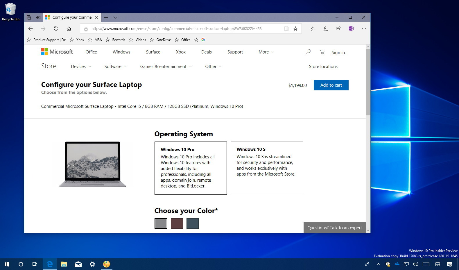 Surface Laptop with Windows 10 Pro