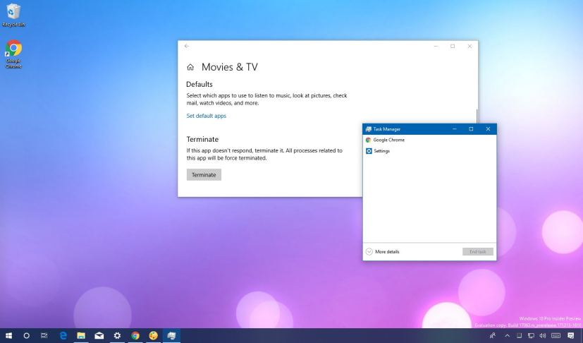 Terminating apps on Windows 10