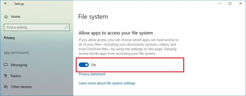 Allow or deny file access to apps