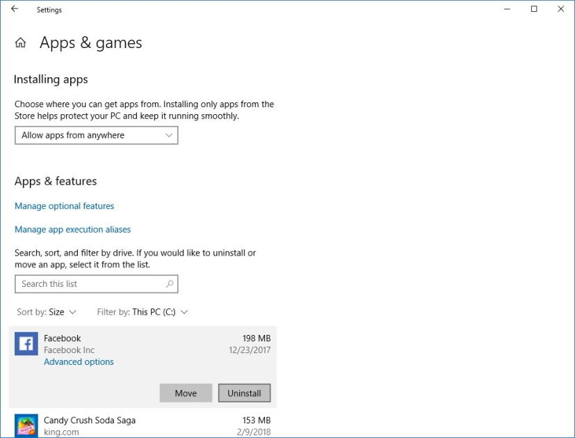 Apps & games settings on Windows 10