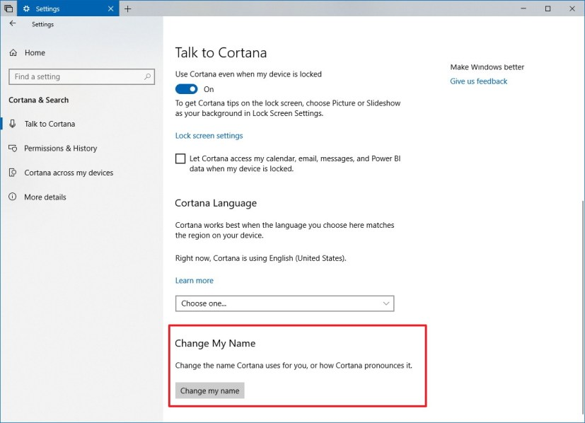 Change the name Cortana call you on Windows 10 version 1809