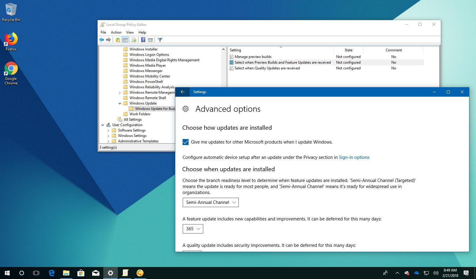 Defer Windows 10 version 1803