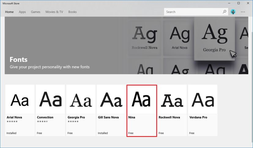 Fonts page on Microsoft Store