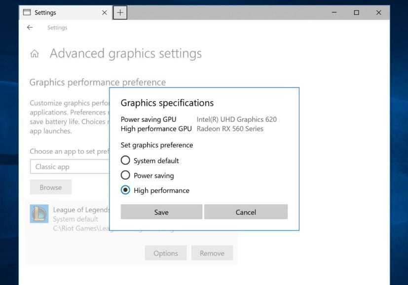 Graphics settings on Windows 10