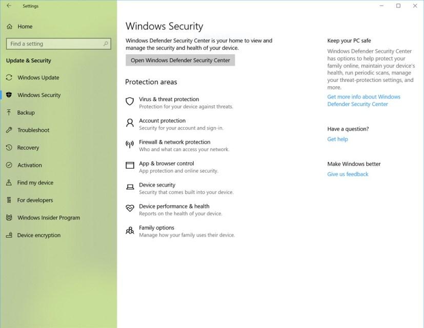 Windows Security settings on Windows 10