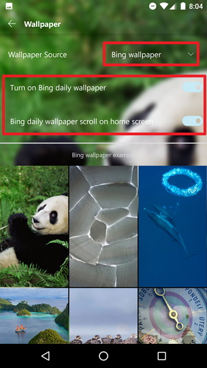 BIng wallpaper rotation settings on Microsoft Launcher