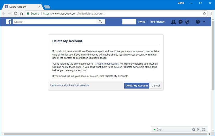 Delete Facebook account settings