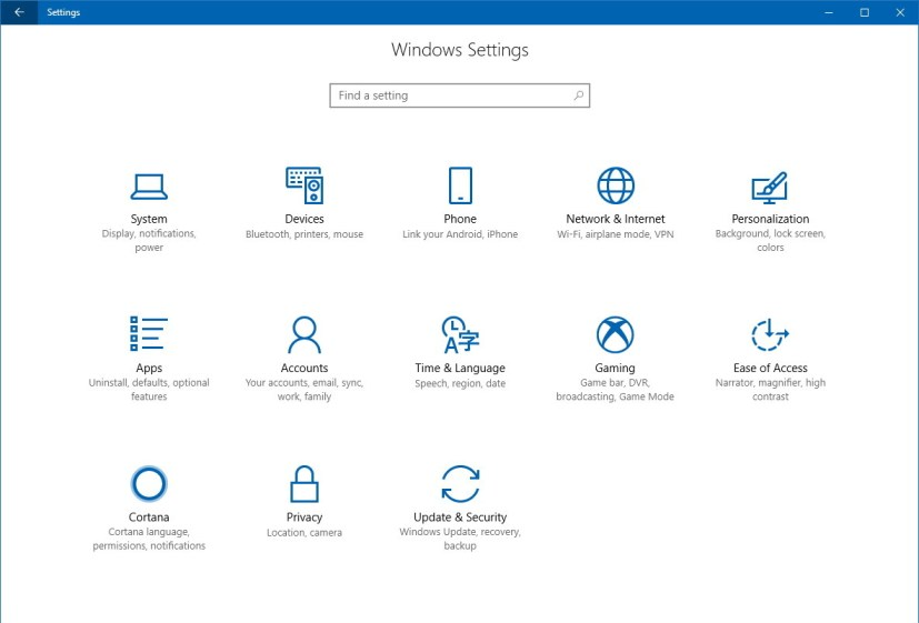 Settings app on Windows 10 version 1709