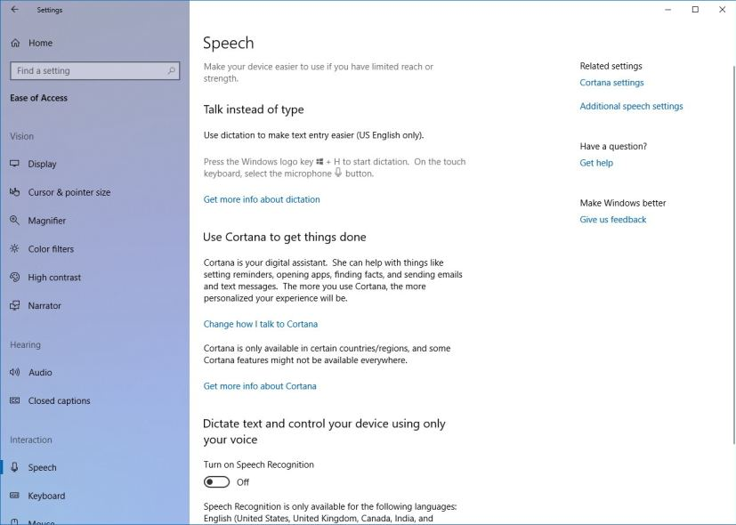 Speech settings on Windows 10 Spring Creators Update