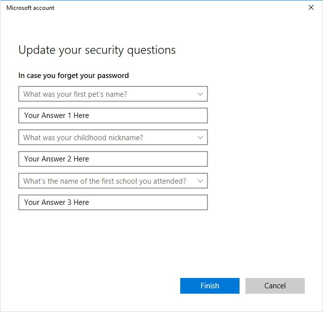 Update security questions Windows 10 local account