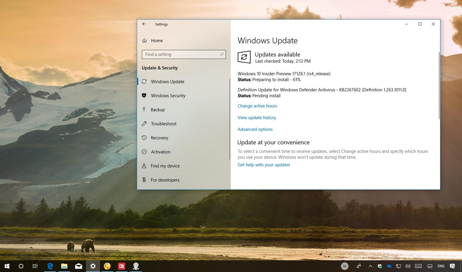 Windows 10 build 17128