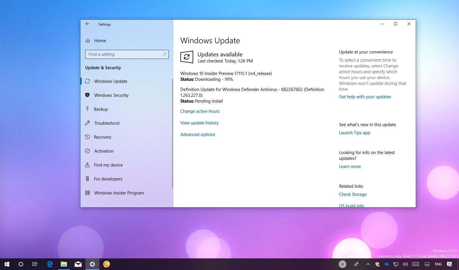Windows 10 build 17115