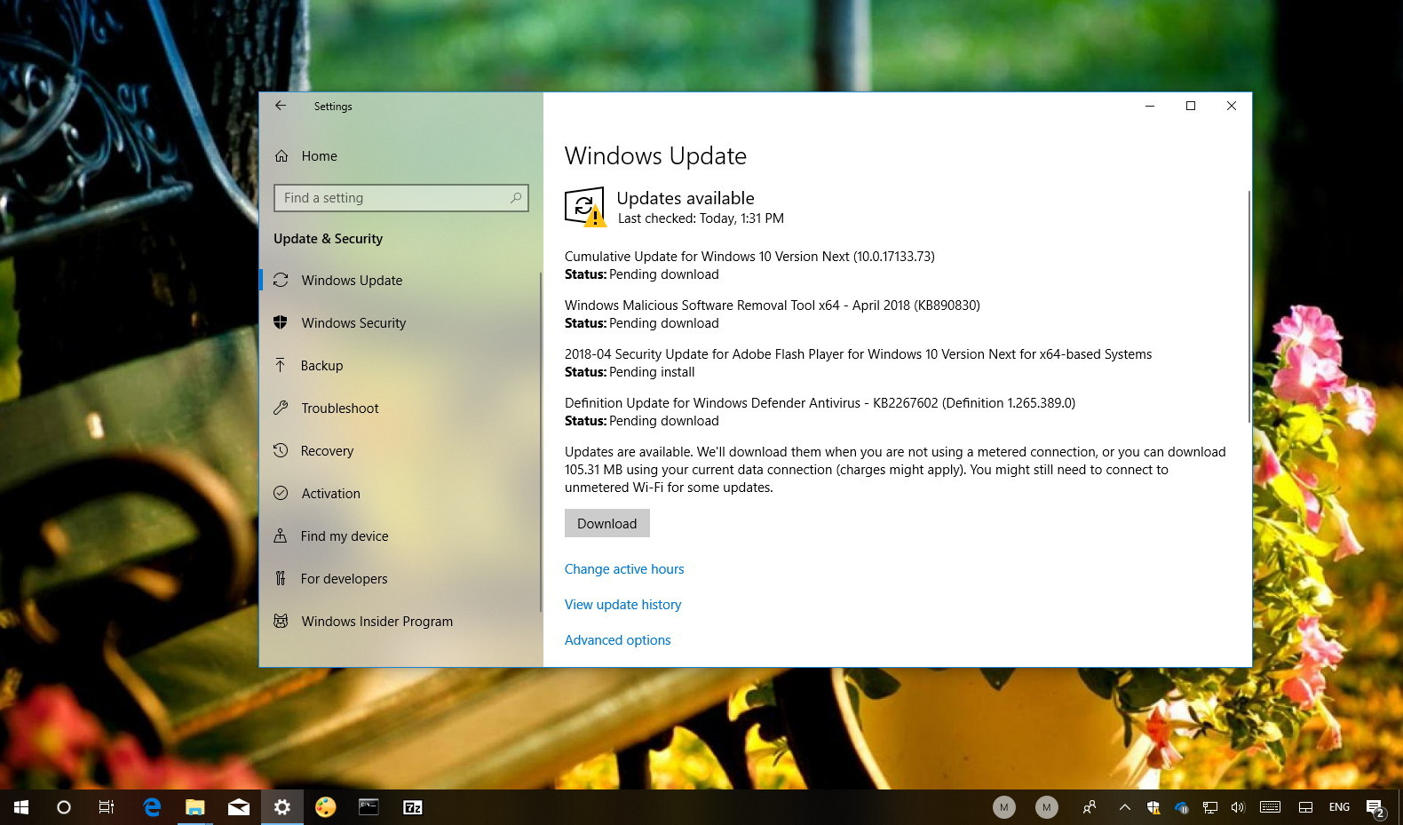 Windows 10 update KB4100375