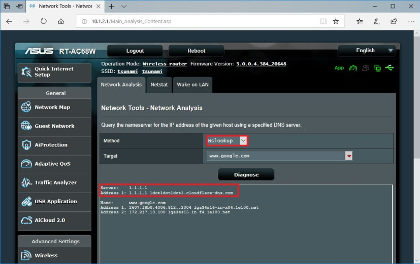 ASUS router nslookup tool