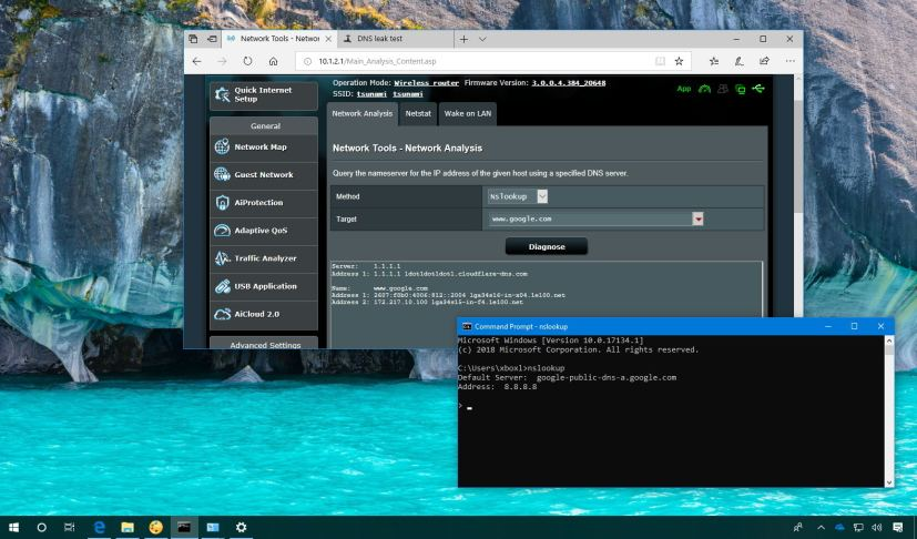 Test DNS settings on Windows 10 or router