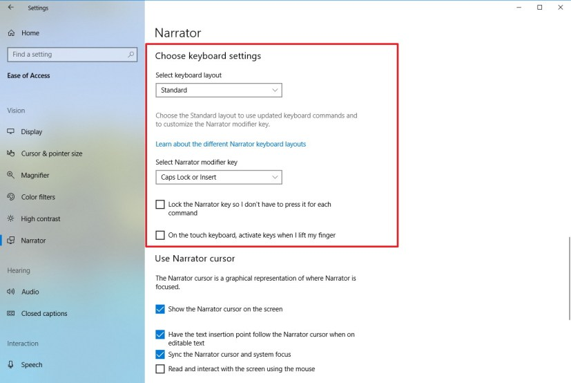 Narrator keyboard settings on Windows 10 Redstone 5