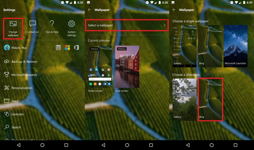 How to set Lock screen wallpaper using Microsoft Launcher on Android ...