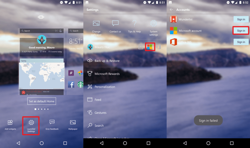 Microsoft Launcher sign-in options