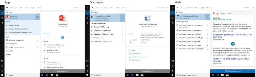 Search preview on Windows 10 build 1766