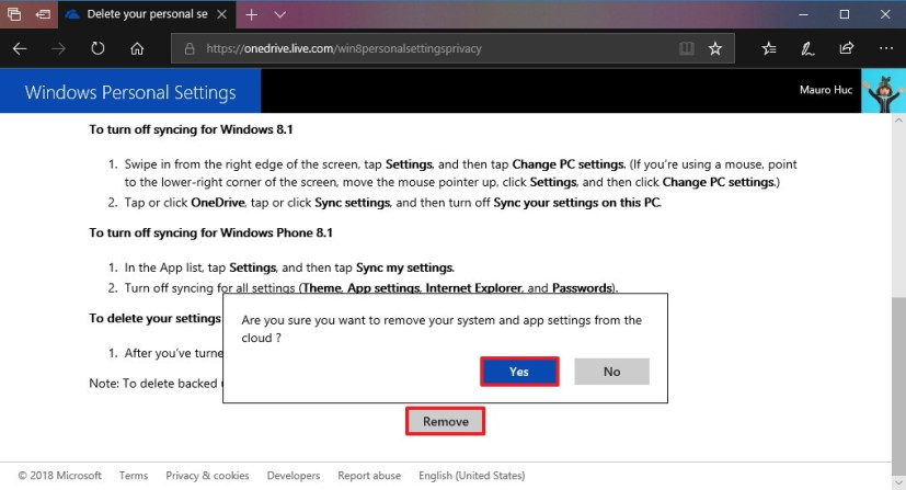 Delete synced Windows 10 settings from Microsoft account