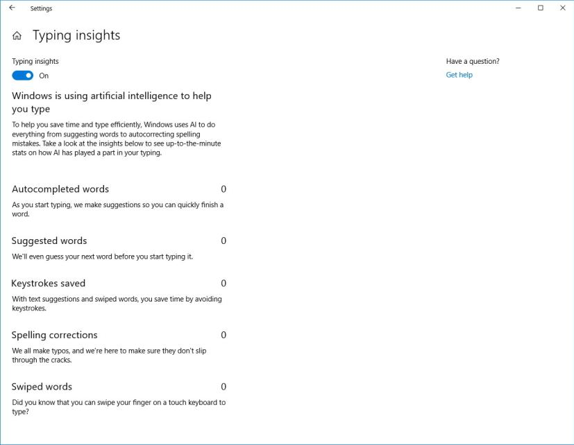 Typing insights on Windows 10 Redstone 5