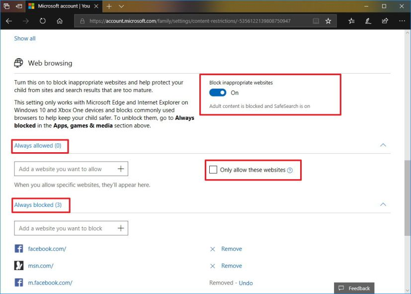 Block websites on Microsoft Edge for Android settings