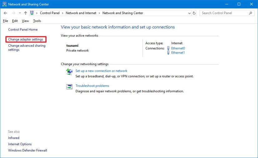 Change network adapter settings