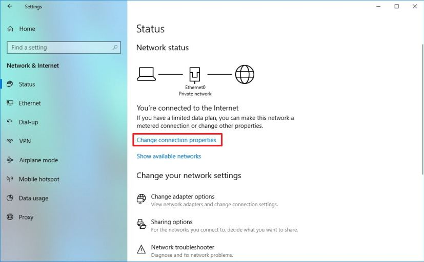 Change connection properties on Network & Internet settings
