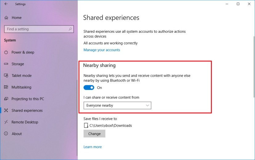 Enable Nearby sharing on Windows 10