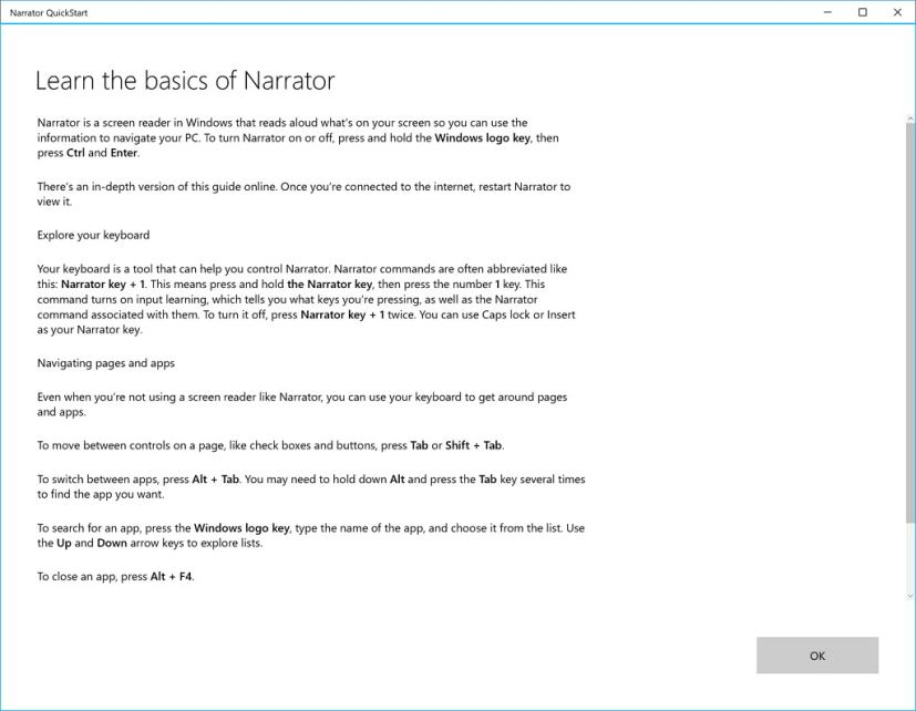 Windows 10's Narrator quick start experience