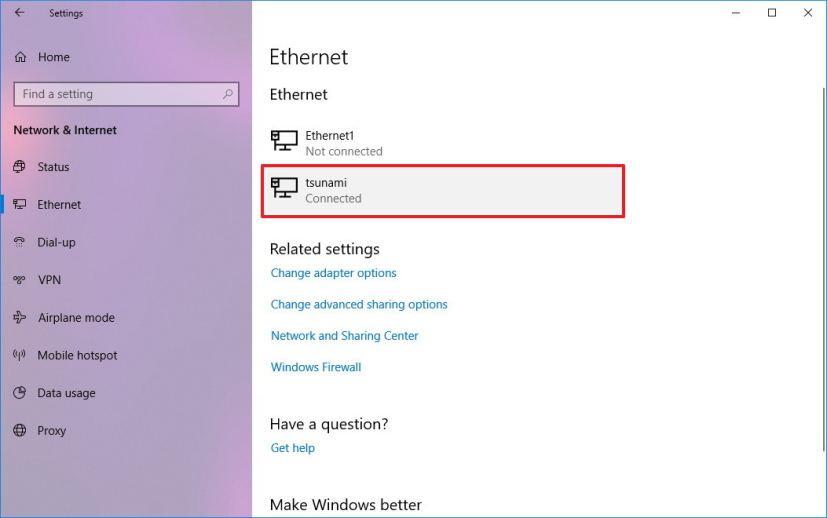 Windows 10 network adapter settings