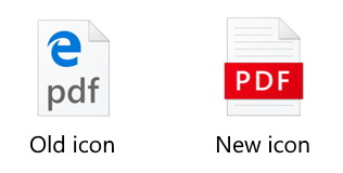 Microsoft Edge new PDF icon