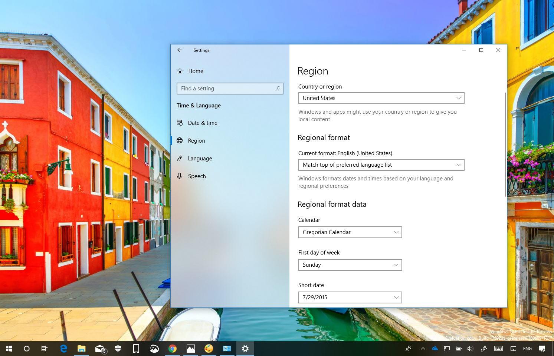 Region settings on Windows 10