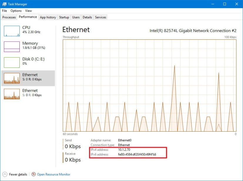 IP address using Task Manager