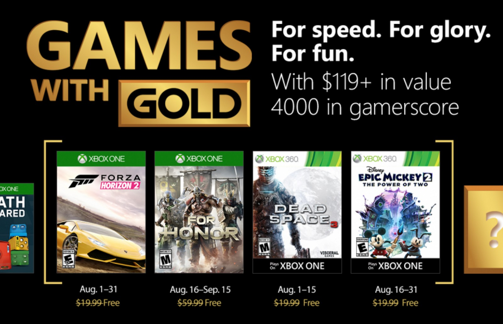 August 2018 Xbox Games with Gold
